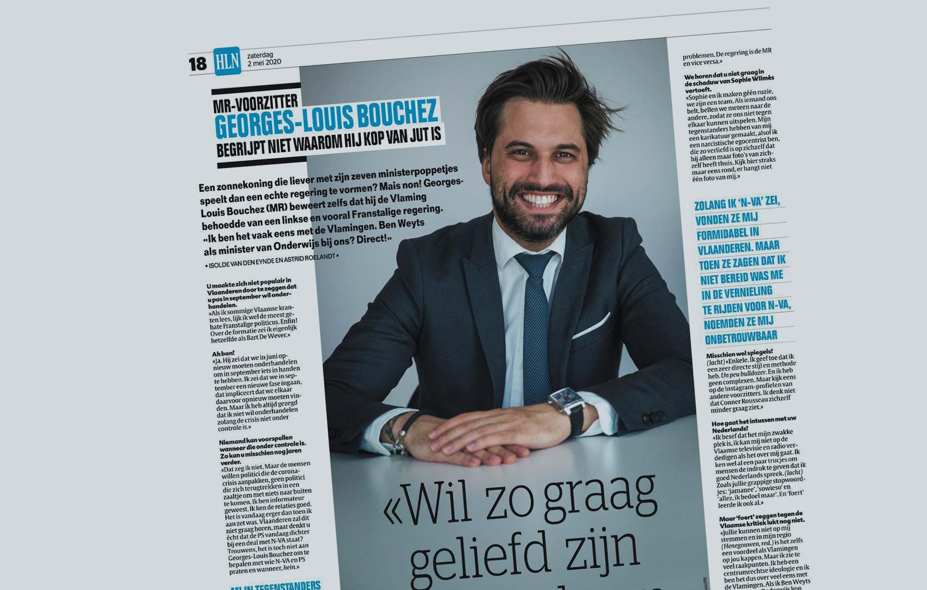 """"""" Je souhaite réellement être aimé en Flandre """" : ITW de Georges-Louis Bouchez dans HLN"""